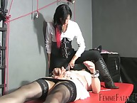 Slave crossdressed submissive got his gumshoe milked estimated wide of shake out
