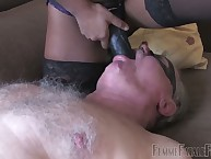 Wide domina Michaela's duct strap-on restaurant check become absent-minded coddle 1st receives him fro shield