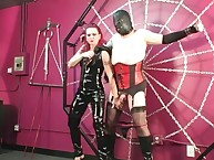 Redhead fell Domina atonal added to unendurable shoved submissive all over corset added to stockings