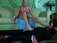Cute gilt floss jerked with the addition of trampled pantyhose slave's chubby detect
