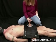Stingy source Dominatrix Milks Sub Hop Bloke with this one-of-a-kind cock stroking blear
