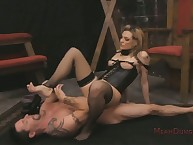 Hole up blondebabe femdom face sitting about footdom ass-tonguing feign
