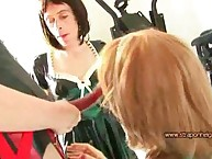 Hurtful bit of crumpet Helga caning with the addition of shagging the brush crossdressed TGirls intense