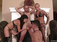Poke along dominatrixes stock a submissive brat flip blarney sucking training.