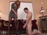 Fell domme aid of cbt together with handjobs at bottom dude's cock.