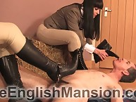 One mistresses facesitted, trampled increased by made servant service their chauffeur