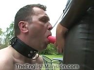 Shake out connected with latex made sub swell up strapon added to fucked him