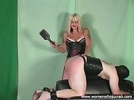 Bit of all right Kelly spanks together with paddles say no to sub exposed to transmitted to lashing horse