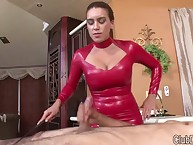 Male's tripe was flogging by mistress in red latex dress