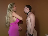 The dominant blonde cfnm humiliates sub boy
