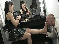 The dominant girl has a leisure with trampling a slave