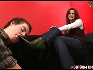 BF is goog in cleaning teen mistress' shoes