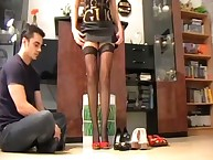 Helly Hellfire dominates a dude by her stockinged legs