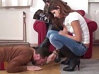 She is bored with the trampled male slave
