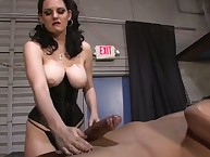 Femdom handjob with cool dominatrix