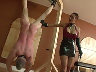 Dominatrix Megan whipped a slave male