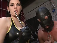 The inner coddle in latex dress tortured male's natter on