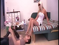 The hot domme did footdom with effort