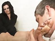 Dominant brunette used her husband for pleasure
