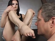 The dominant redhead babe used boy for boot licking