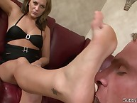 Cuckolded husband worshipped feet and high heels