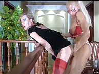 Vicious Christiana has sex Silvester's butthole by strapon