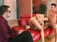 Bitchy wife taking 2 weenies into holes