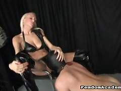 Obedient bound slave has to lick Dominatrix' slit