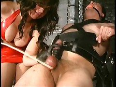 Brunette in red latex abused her malesub