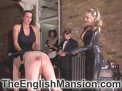 Amazing sluts spanked and beat male slave