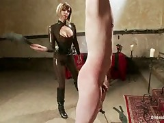 Blindfolded malesub was paddled and whipped