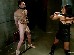 Slave boy was abused and punished by Dominatrix