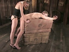 Very hot strapon sex with domme and slave