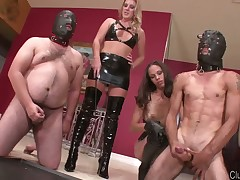 Very hot dommes give their sub BDSM test