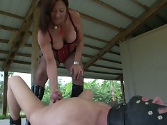 Painful and humiliating jerk off for slave