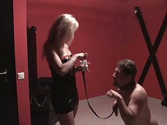 Nude subby got humiliation from blonde
