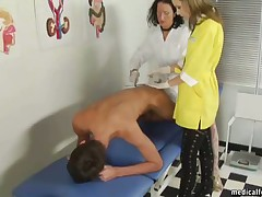 Two med sluts abusing a male subby