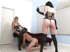 Sex doll had to lick pussy hole of his mistress and was punished