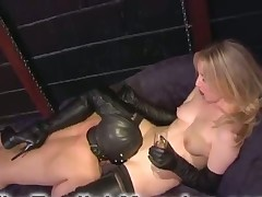 Blond mistress was licked well by her slave