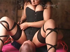 Sub was smothered by Horny mature in stockings
