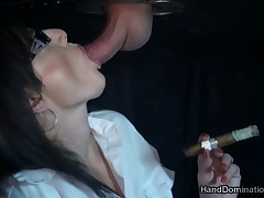 Hot action with cigar and BJ through gloryhole