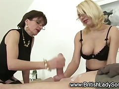 Mistress Gill is making her new tiny dick slave cum