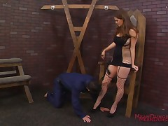 Male slave made rimming domme's asshole and more