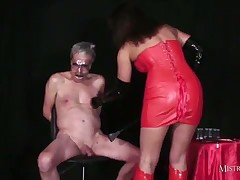 helpless elderly slave dude got painful wank off