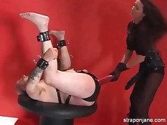 Bounded slave was fucked by hot brunette with strapon
