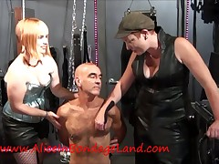 Queasy slave tortured by harlots