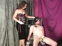 Dust-ball Lena clothespins CBT with the addition of Femdom