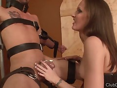 Great humiliation of poor slave by cute mistress