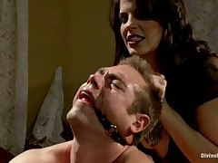 Sexy babe was torturing man's genitals