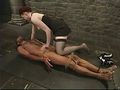 Sexy domme likes to discipline her slave dude
